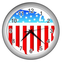 USA Flag Map Silver Wall Clock