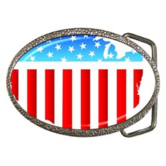 USA Flag Map Belt Buckle (Oval)
