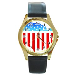 USA Flag Map Black Leather Gold Rim Watch (Round)