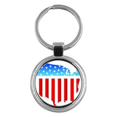 USA Flag Map Key Chain (Round)