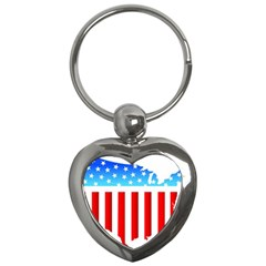 Usa Flag Map Key Chain (heart)