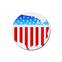 USA Flag Map Rubber Drinks Coaster (Round)