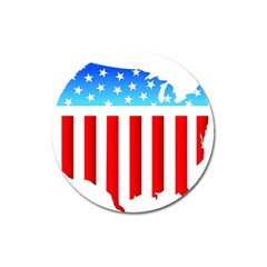 Usa Flag Map Large Sticker Magnet (round)