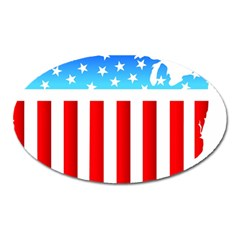 Usa Flag Map Large Sticker Magnet (oval)