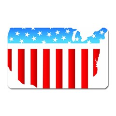 USA Flag Map Large Sticker Magnet (Rectangle)