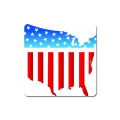 Usa Flag Map Large Sticker Magnet (square)