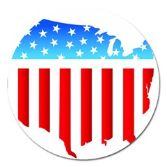 USA Flag Map Extra Large Sticker Magnet (Round)