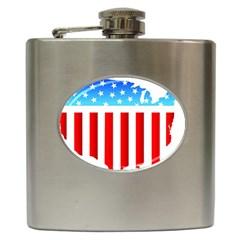 USA Flag Map Hip Flask