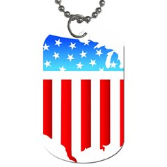 Usa Flag Map Twin Sided Dog Tag