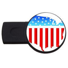 USA Flag Map 2Gb USB Flash Drive (Round)