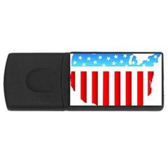 USA Flag Map 1Gb USB Flash Drive (Rectangle)