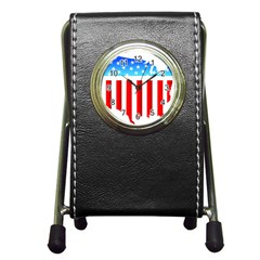 USA Flag Map Stationery Holder Clock