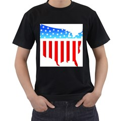 USA Flag Map Twin-sided Black Mens'' T-shirt