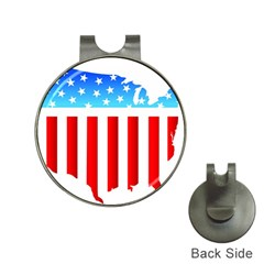 USA Flag Map Hat Clip with Golf Ball Marker