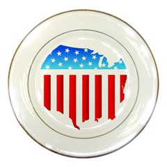 USA Flag Map Porcelain Display Plate