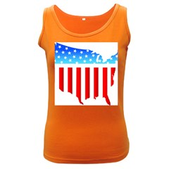 Usa Flag Map Dark Colored Womens'' Tank Top