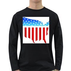 Usa Flag Map Dark Colored Long Sleeve Mens'' T Shirt