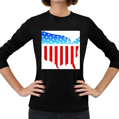 Usa Flag Map Dark Colored Long Sleeve Womens'' T Shirt