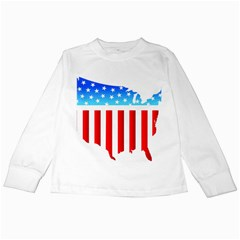 Usa Flag Map White Long Sleeve Kids'' T Shirt