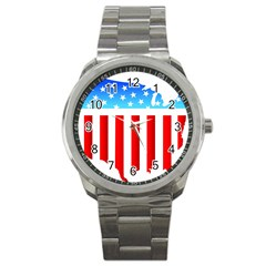 Usa Flag Map Stainless Steel Sports Watch (round)