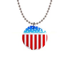 USA Flag Map Mini Button Necklace