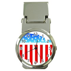 USA Flag Map Chrome Money Clip with Watch