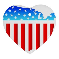 USA Flag Map Heart Ornament (Two Sides)