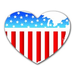 USA Flag Map Mouse Pad (Heart)