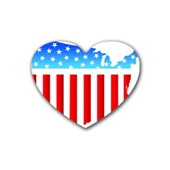 USA Flag Map 4 Pack Rubber Drinks Coaster (Heart)