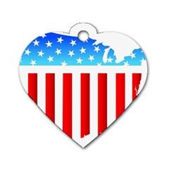 Usa Flag Map Single Sided Dog Tag (heart)