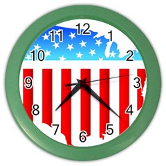 Usa Flag Map Colored Wall Clock