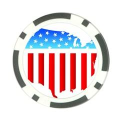USA Flag Map Poker Chip