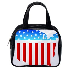 Usa Flag Map Single Sided Satchel Handbag