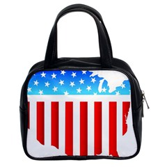 Usa Flag Map Twin Sided Satched Handbag