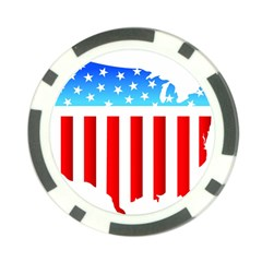 USA Flag Map 10 Pack Poker Chip