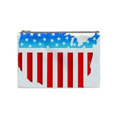 USA Flag Map Medium Makeup Purse