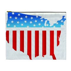 USA Flag Map Extra Large Makeup Purse