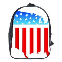 USA Flag Map Large School Backpack