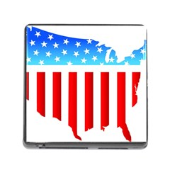 USA Flag Map Card Reader with Storage (Square)