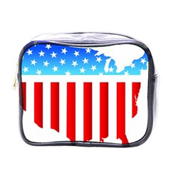 Usa Flag Map Single Sided Cosmetic Case