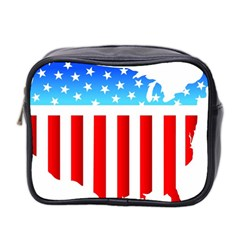 Usa Flag Map Twin Sided Cosmetic Case