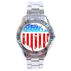USA Flag Map Stainless Steel Analogue Watch (Round)