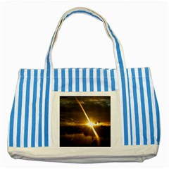 Rainbows And Sunsets 031 Blue Striped Tote Bag