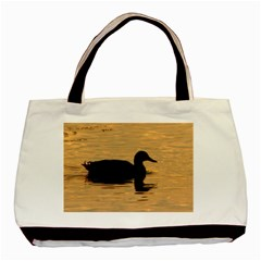Lone Duck Twin Sided Black Tote Bag