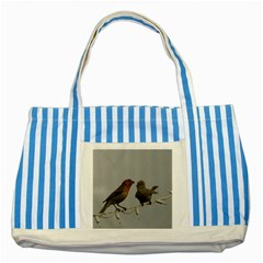 Chit Chat Birds Blue Striped Tote Bag