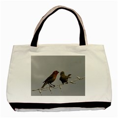 Chit Chat Birds Twin-sided Black Tote Bag