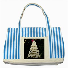 Jesus Is The Reason Blue Striped Tote Bag