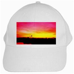 Pink Sunset White Baseball Cap