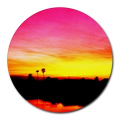 Pink Sunset 8  Mouse Pad (Round)