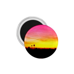 Pink Sunset Small Magnet (Round)